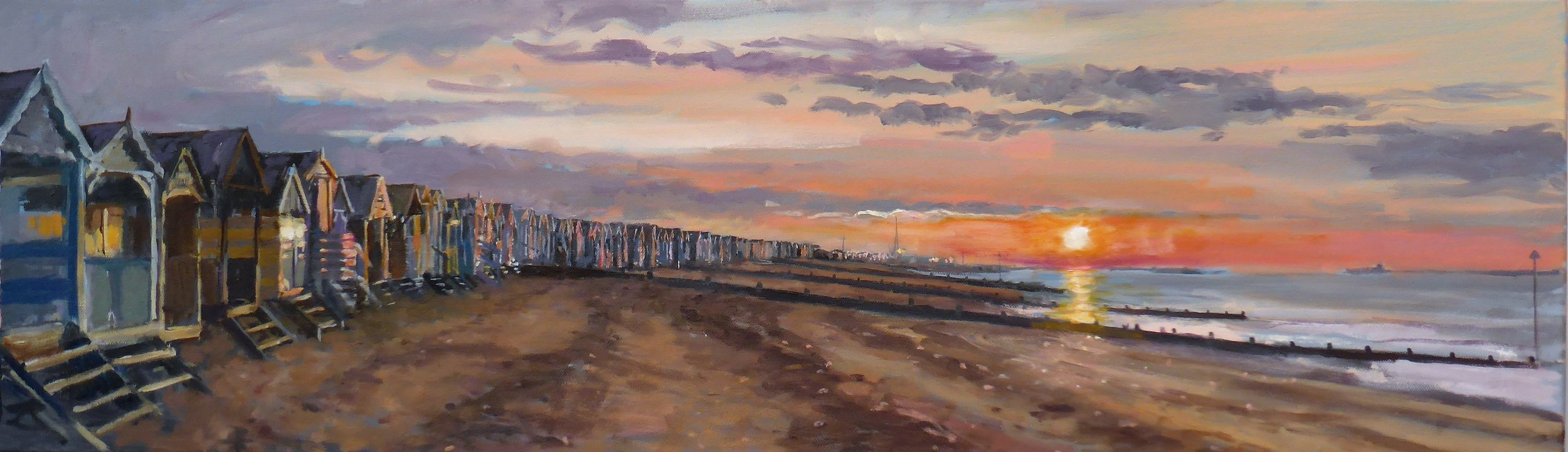 Thorpe Bay Sunrise and the Beachhuts.  Oil on Canvas 30cm x 100cm 2017.JPG