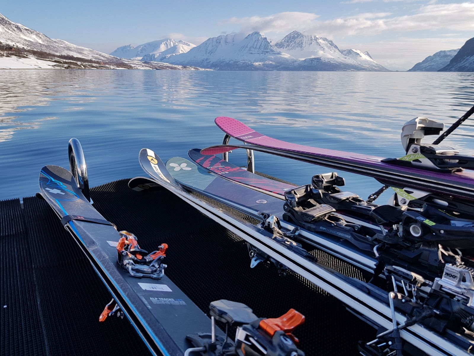 Morning onboard, skis at the ready.