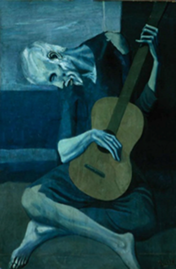 "Pablo Picasso, The Old Guitarist , late 1903–early 1904 Oil on panel 48 3/8 x 32 1/2 in. (122.9 x 82.6 cm) signed, l.r.: ""Picasso"" The Art Institute of Chicago"