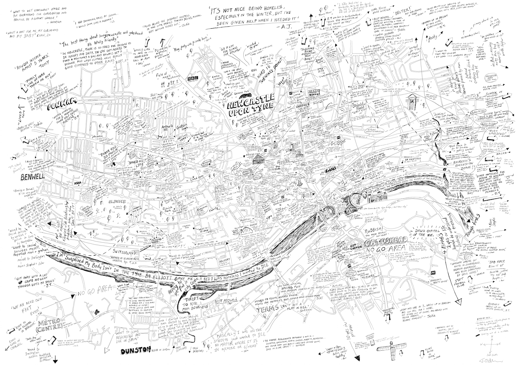 A collaboration with 30 homeless people living in Newcastle upon Tyne, led by Adele Irving and Oliver Moss from the Department of Social Sciences and Languages at Northumbria University.  The piece maps the participants' life stories, showing how they became homeless and their experience of living on the streets of the city and getting help from various organisations. Read more about the project  here.