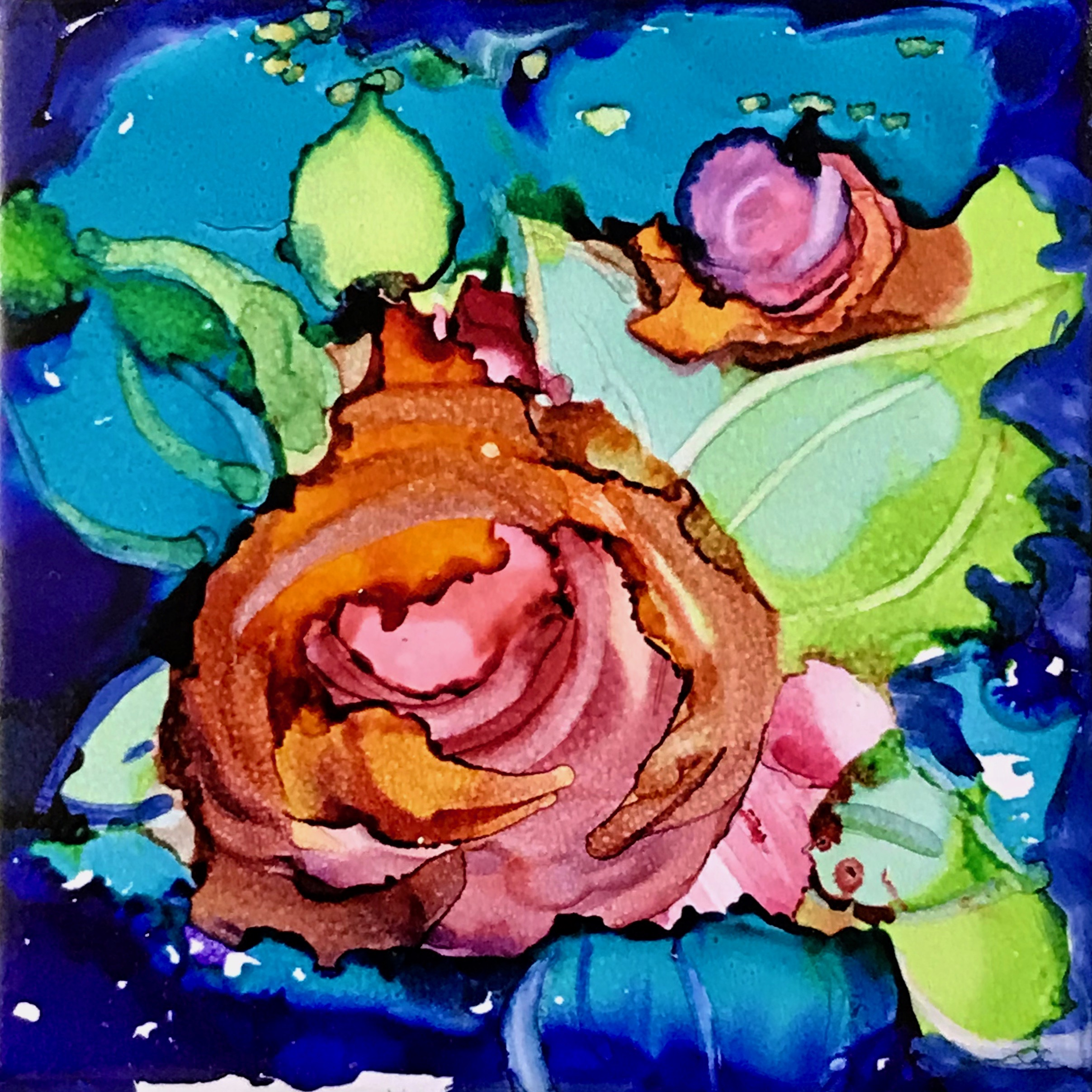 "Roses . Alcohol Ink on tile . 4.25"" x 4.25"" . unframed $75"