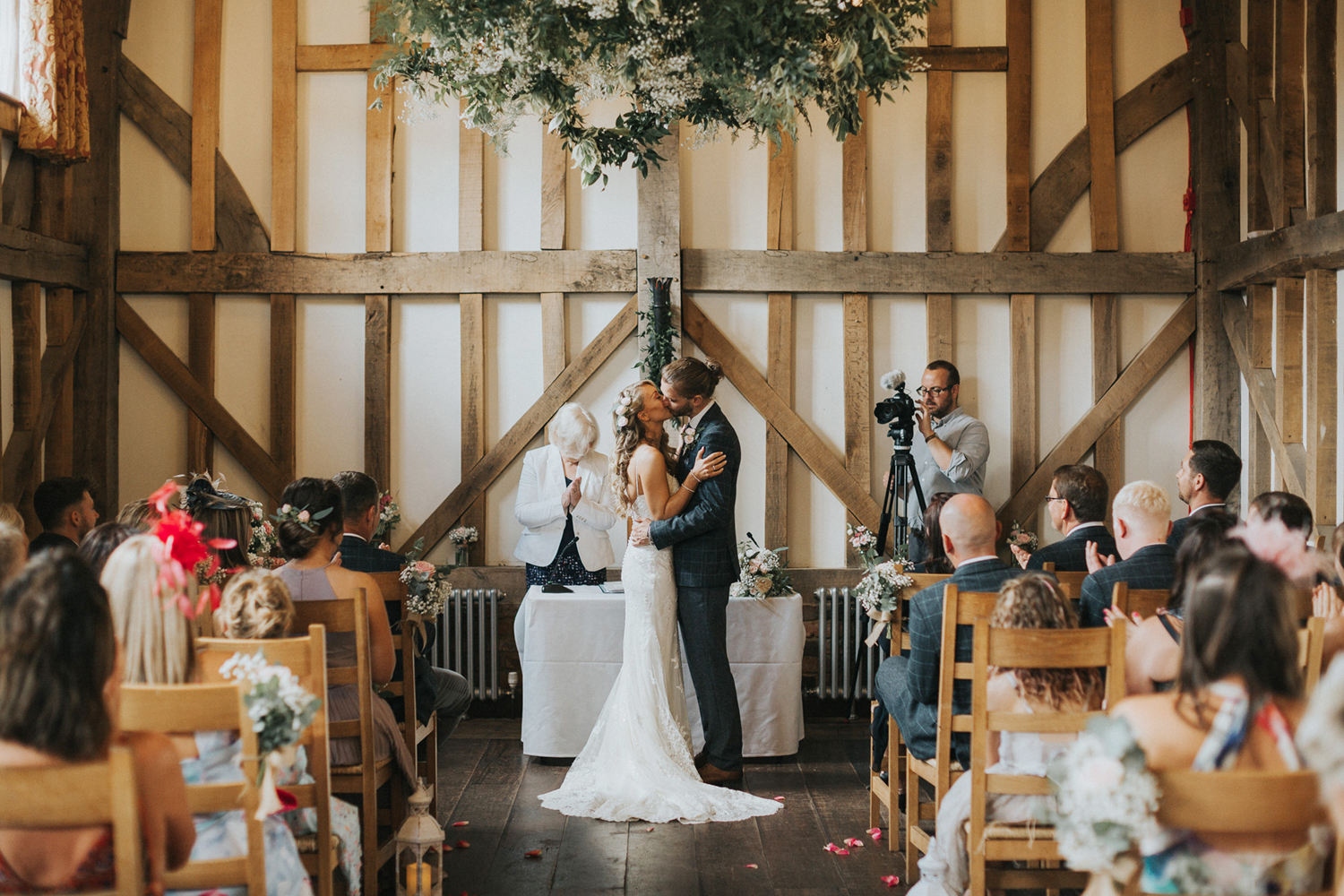 Gate Street Barn Ceremony First Kiss