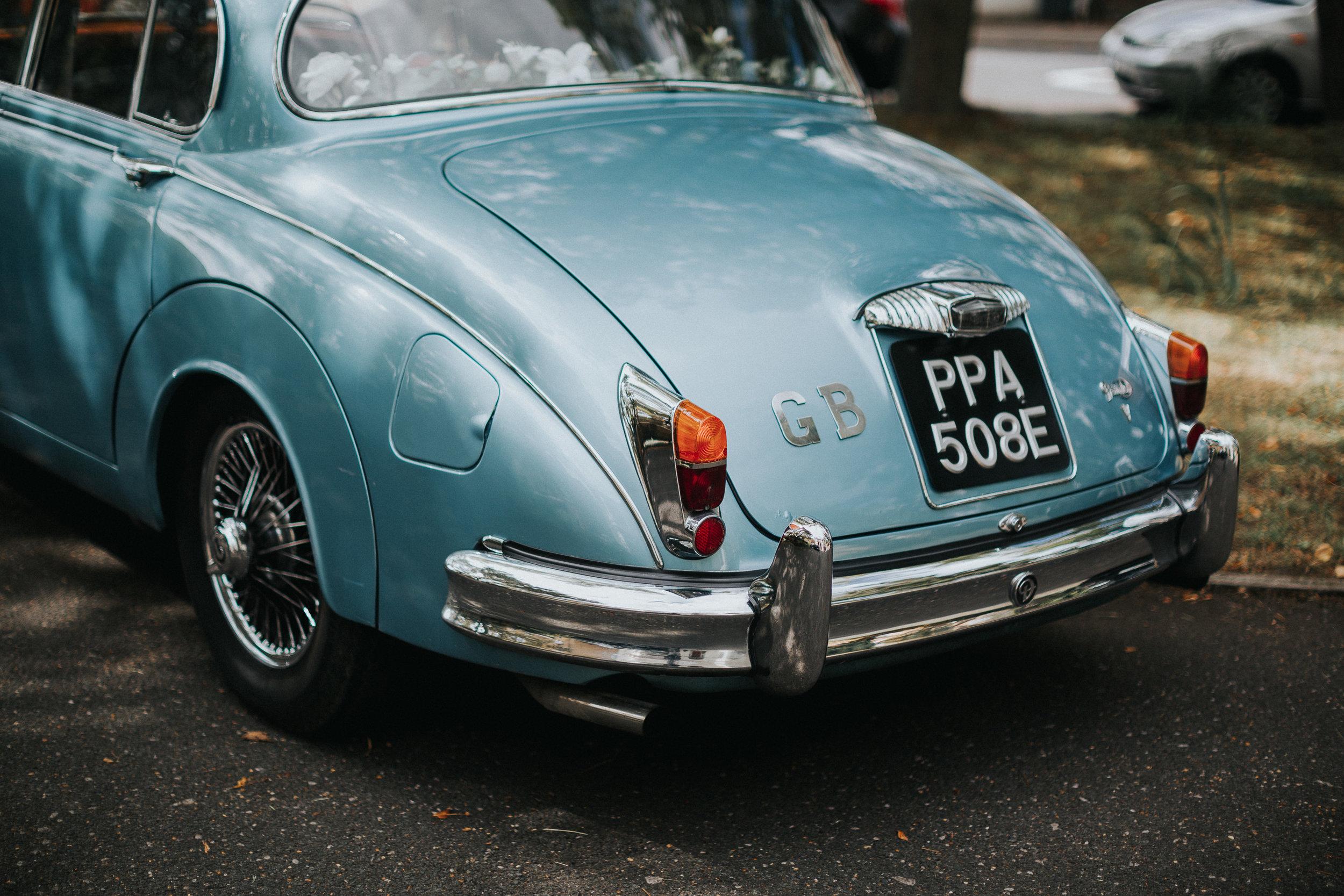 Blue Vintage Wedding Car