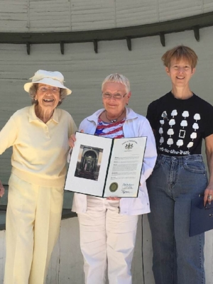 Honoring Edie Roeder , left. Center: Ellen Millard-Kern, Chief of Staff for Senator Pat Brown. Right: Dr. Christine Oaklander, Chair Art-in-the-Park