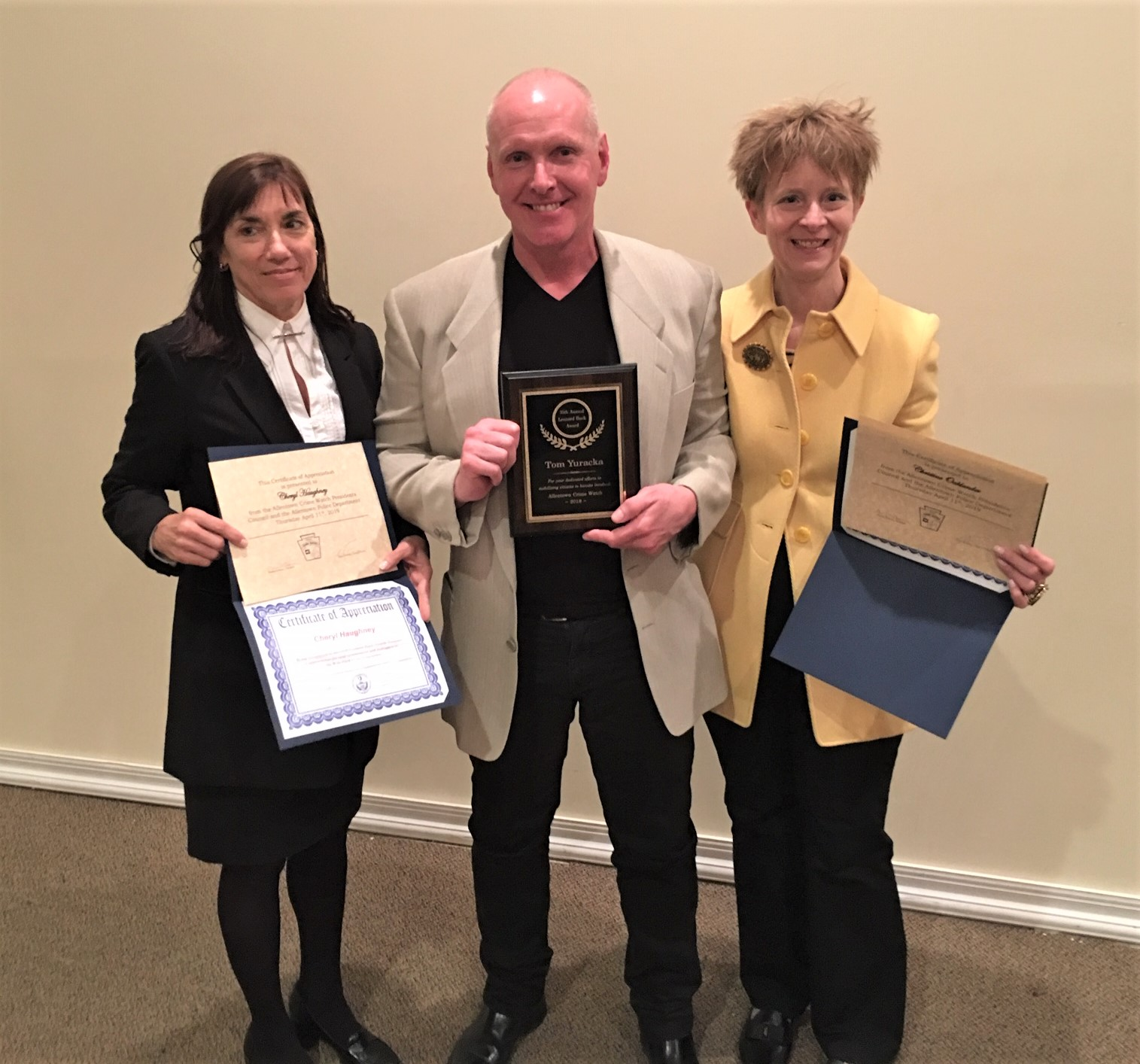 Our Leader, Tom Yuracka - Leonard Buck Award   Christine Oaklander & Cheryl Haughney - Certificates of Appreciation