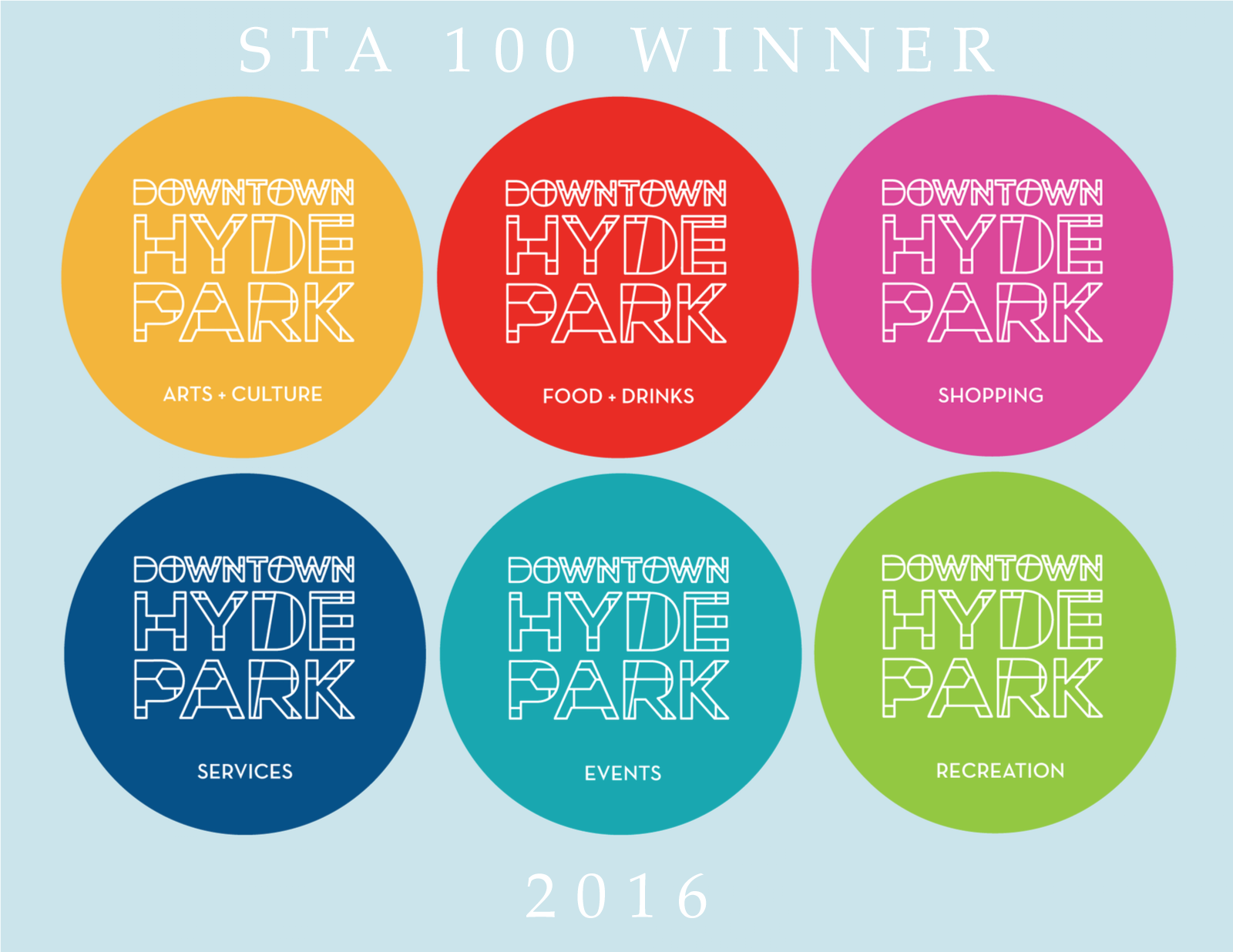 Downtown Hyde Park Branding and Subsystem -  Society of Typographic Arts Winner / 2016