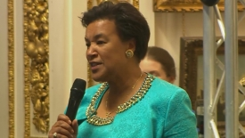 Commonwealth Secretary-General Patricia Scotland speaks at the London Anti-Corruption Summit in May 2016 and  pledges to support the fight against corruption.