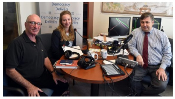 From left: CIPE podcast guest Frank Vogl, guest host Louisa Tomar and host Ken Jaques