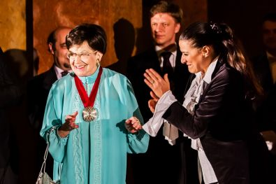 "Zuzana Ruzickova, Holocaust survivor who died in September 2017 at the age of 90, pictured here with opera star Cecilia Bartoli as she receives a national culture award in Prague. See - "" Zuzana - Human Rights Icon for the Ages """
