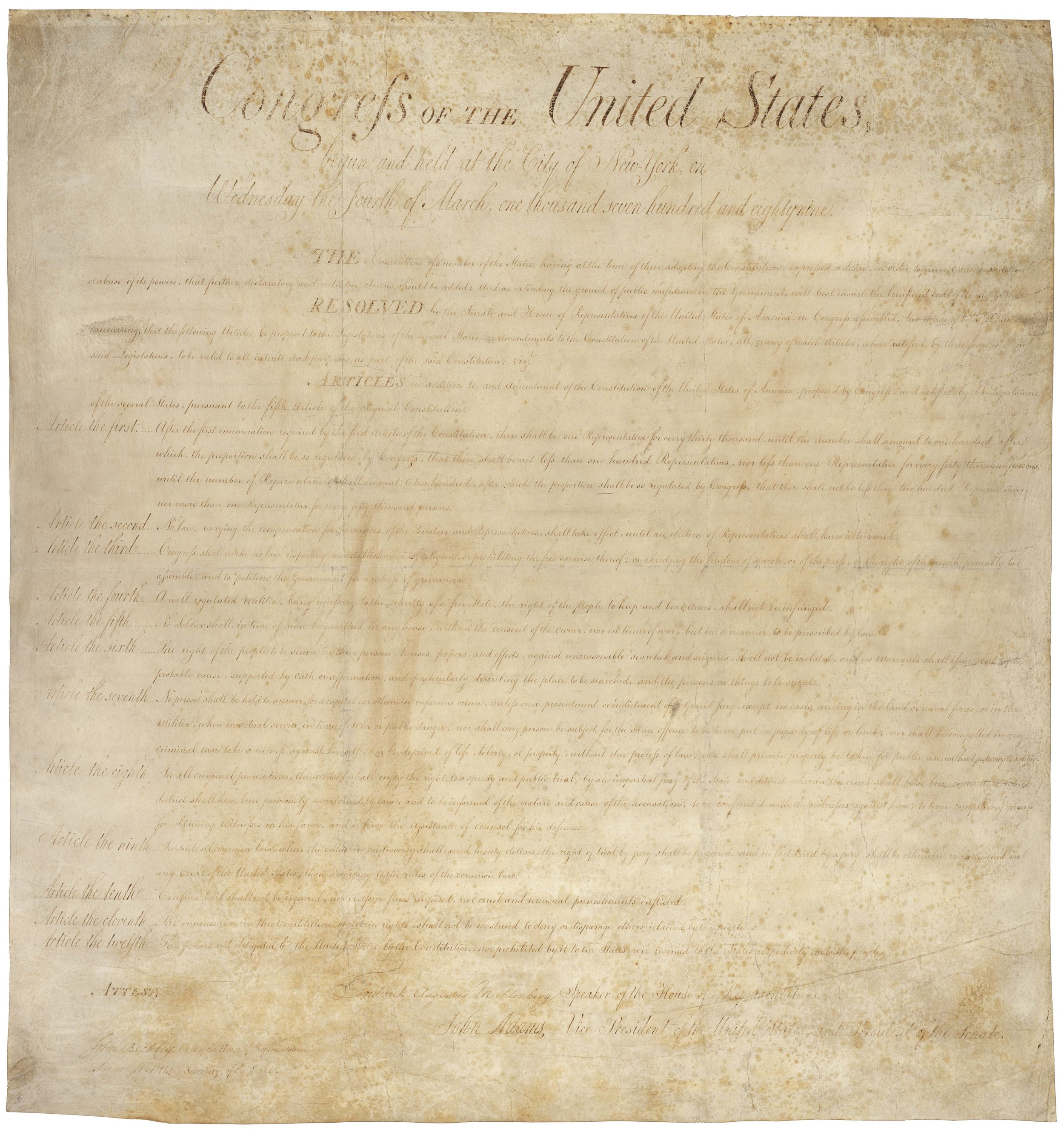 US Bill of Rights -  National Archive