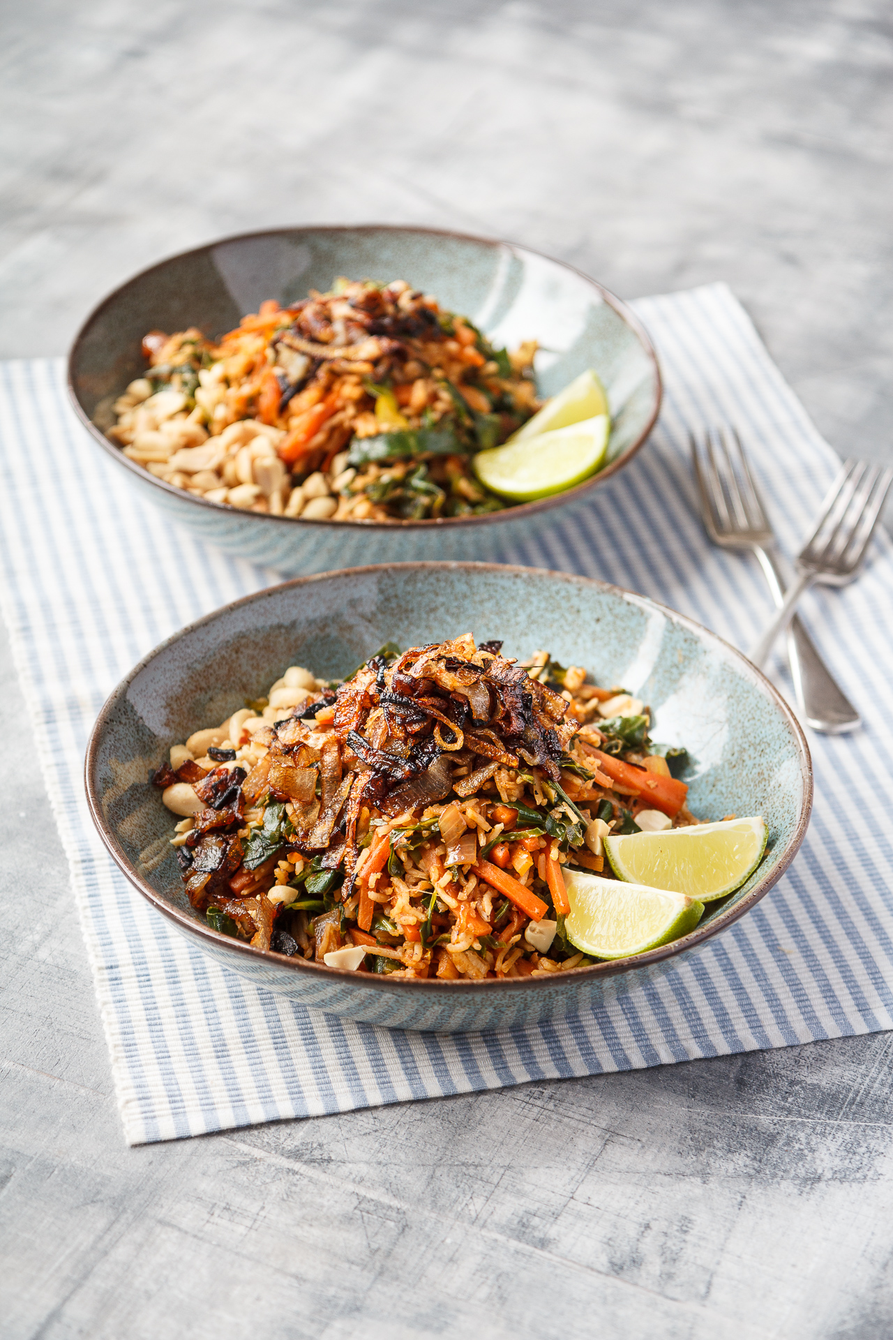 Vegan shallot and vegetable nasi goreng - Fried rice is the perfect speedy comfort food, great on a Friday night served with a couple of cold beers. Use your favourite chilli sauce to spice it up!