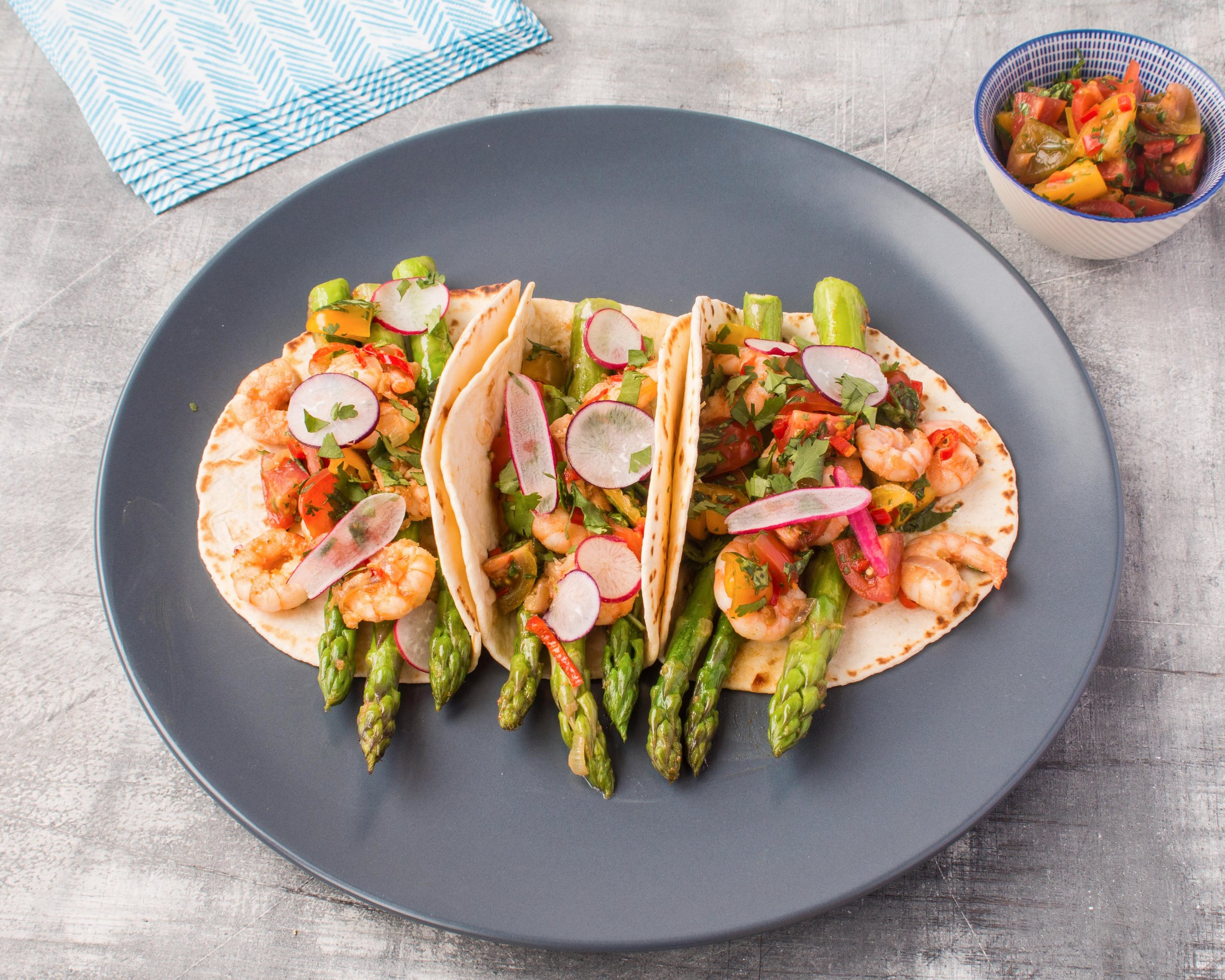 British asparagus and prawn tacos with a tomato salsa.jpg