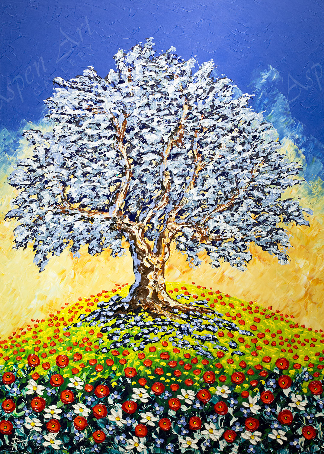 Majestic Olive Tree of Colorful Meadows 60X42