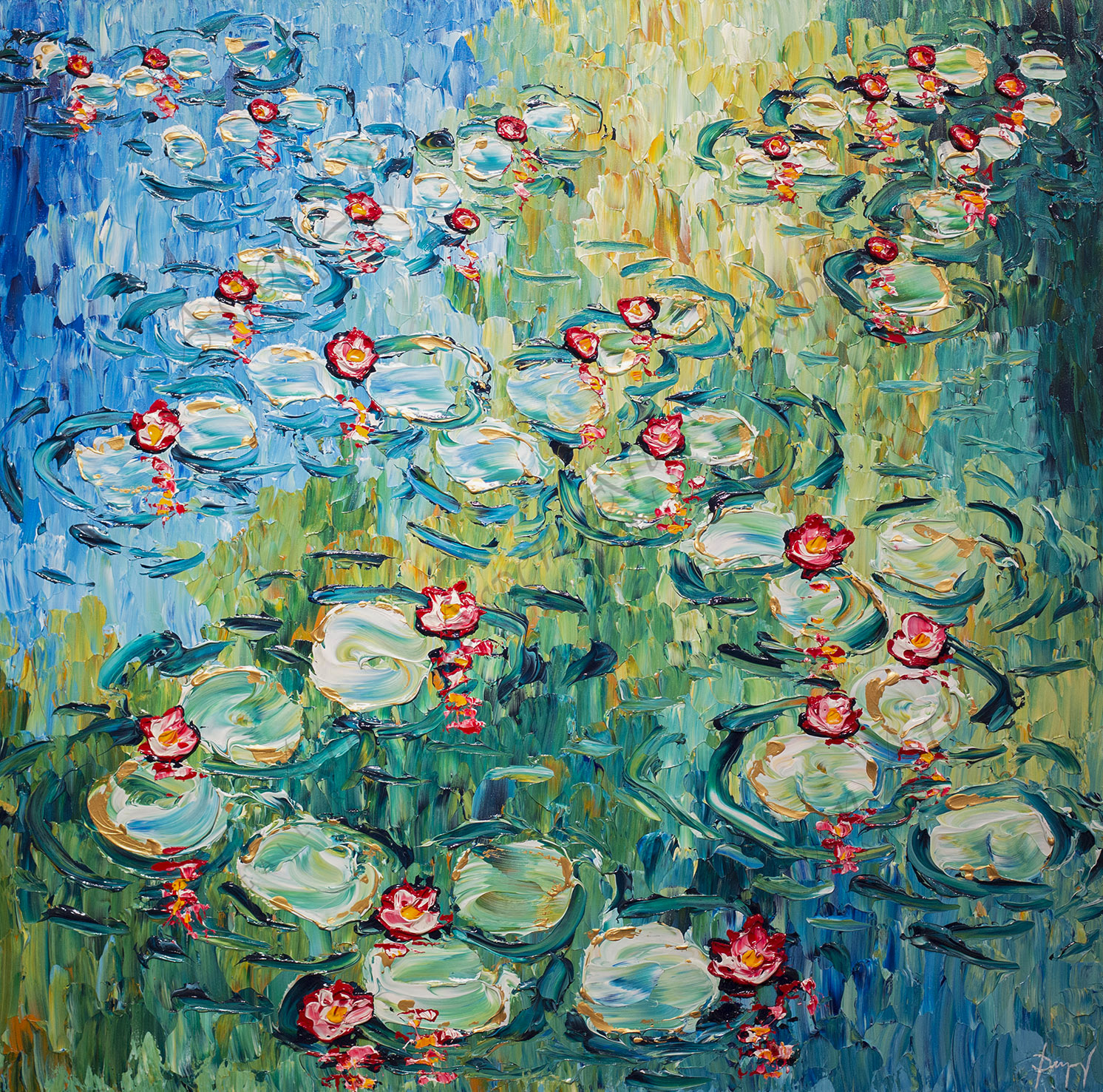 Graceful Water Lilies of Abundant Colors 48x48