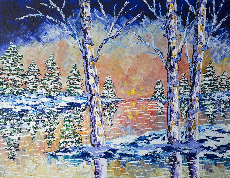 Bright Waters of Winter Sunrise 36x48