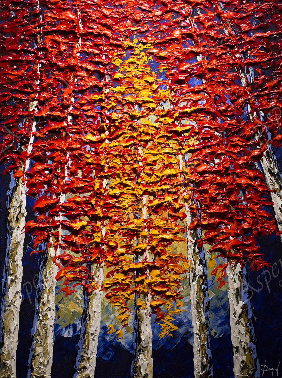 Towering Trees of Bright Autumn 40x30