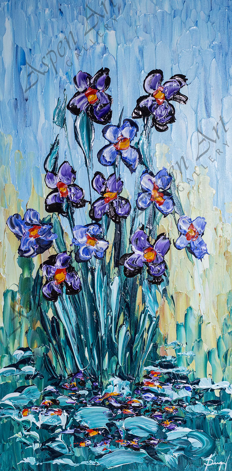 """ISABELLE DUPUY """"Irises of the Bright Pond"""" 40x20"""