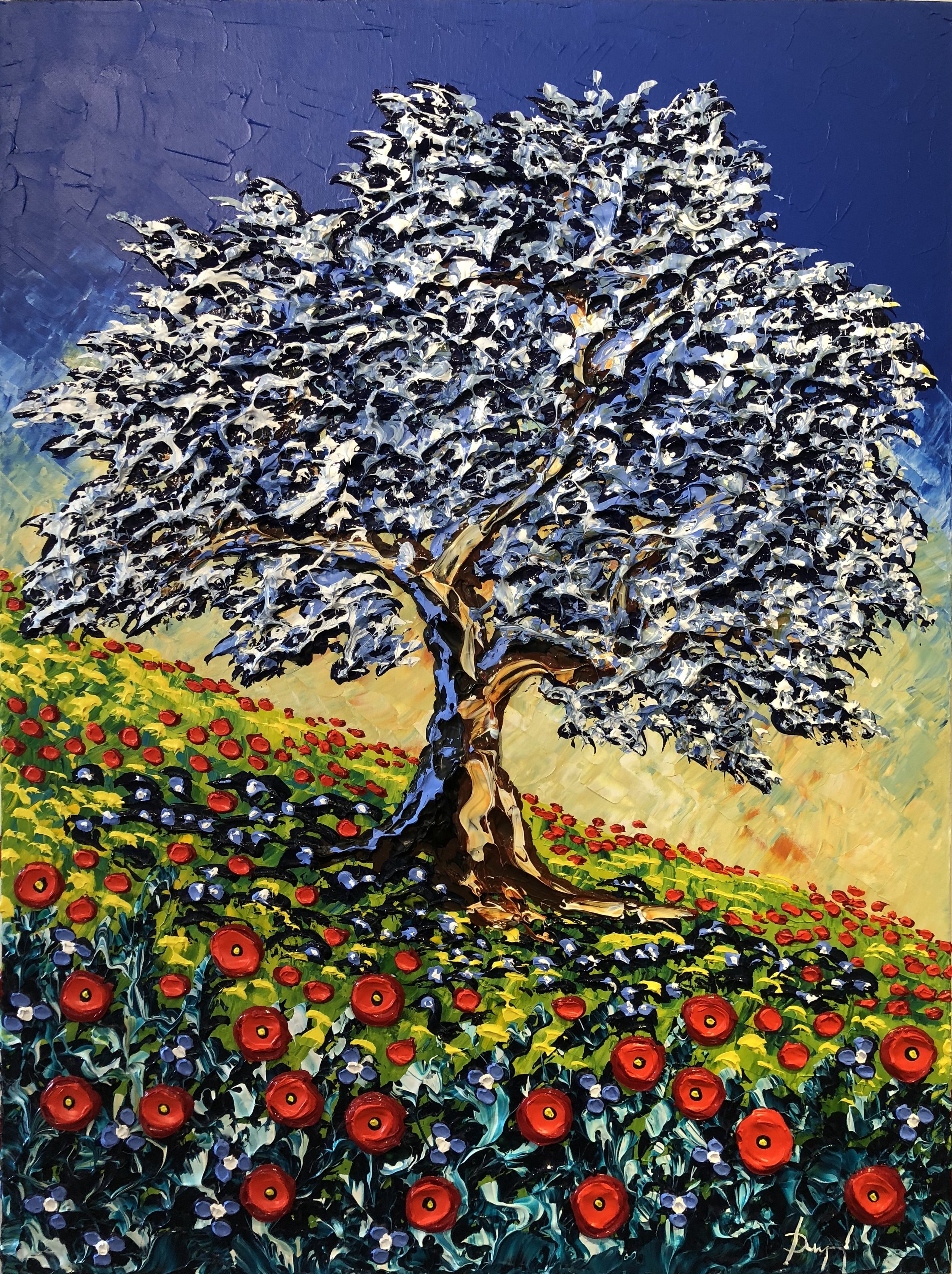 Colorful Olive Tree of the Summer 40x30