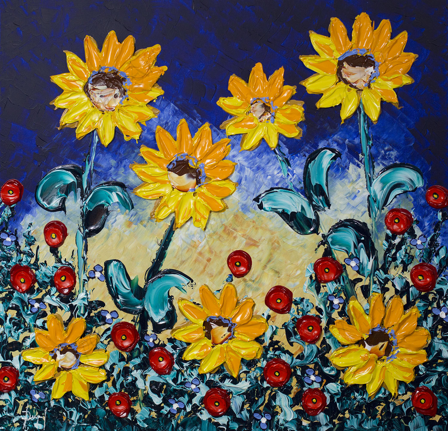 Bright Sunflowers of Delightful Meadows 36x36