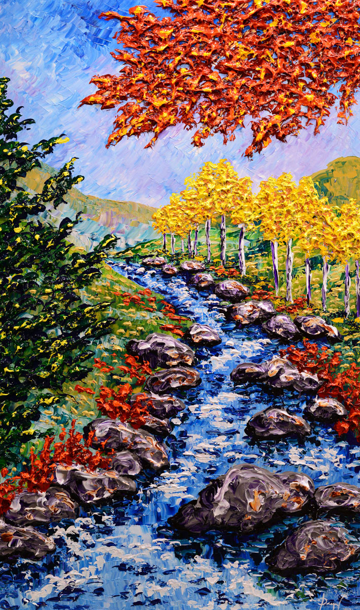 """Autumn Stream Along The Forest"" 60x36"""