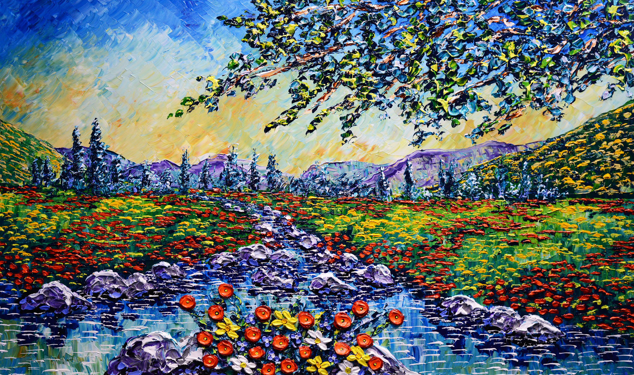 """Colorful Streams of Glorious Beauty"" 36x60"""