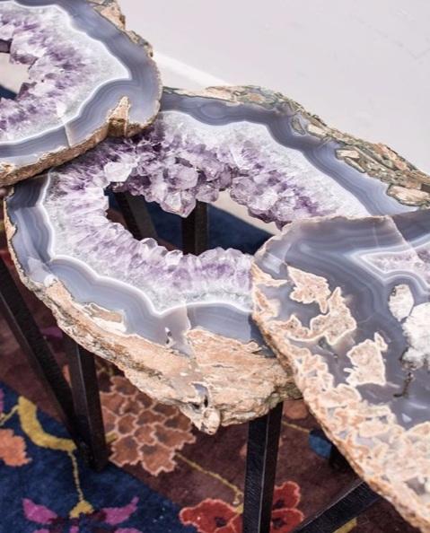 Custom Ripple Texture 3 Tier Amethyst Table