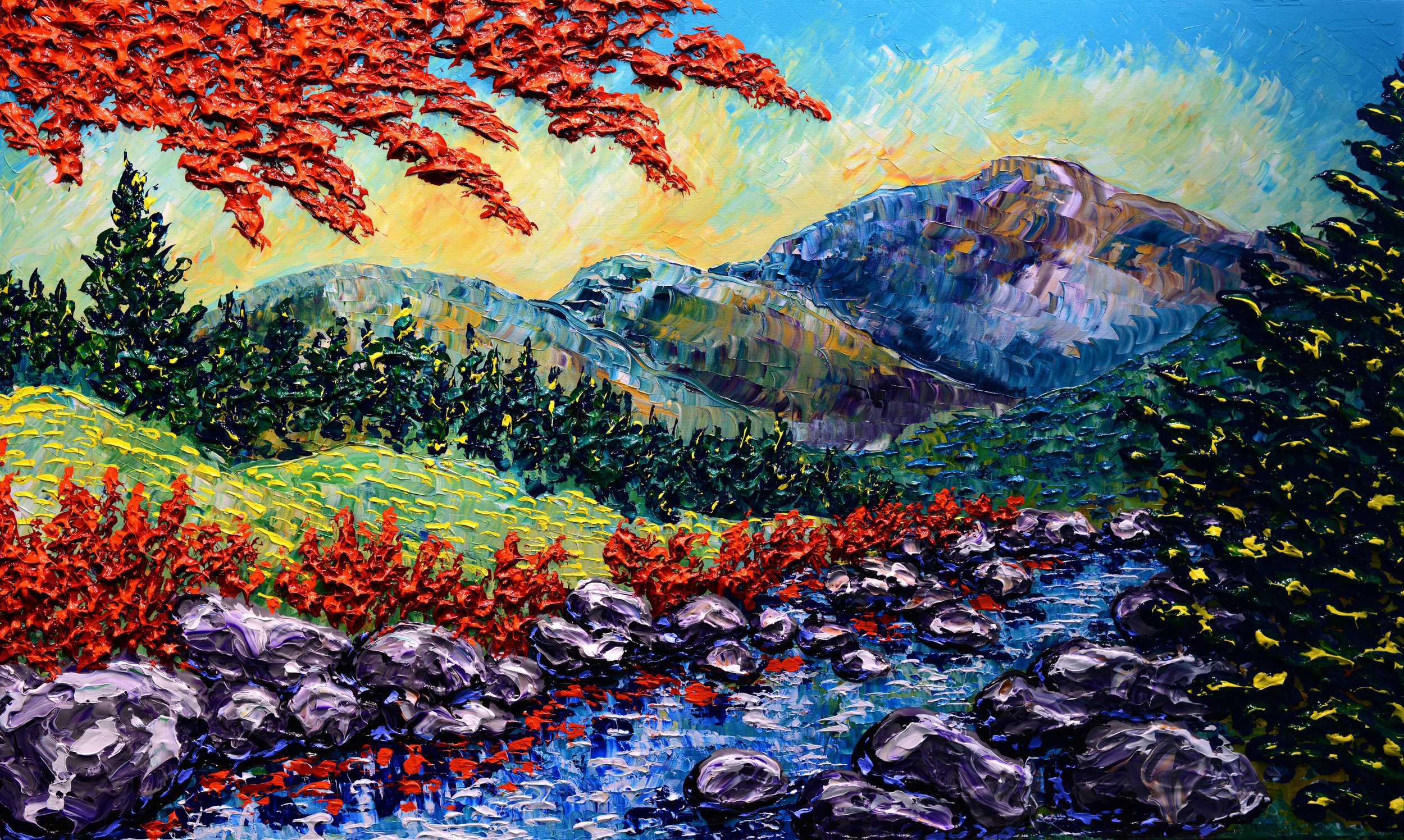 """Reflective Waters of Early Autumn"", 36x60"