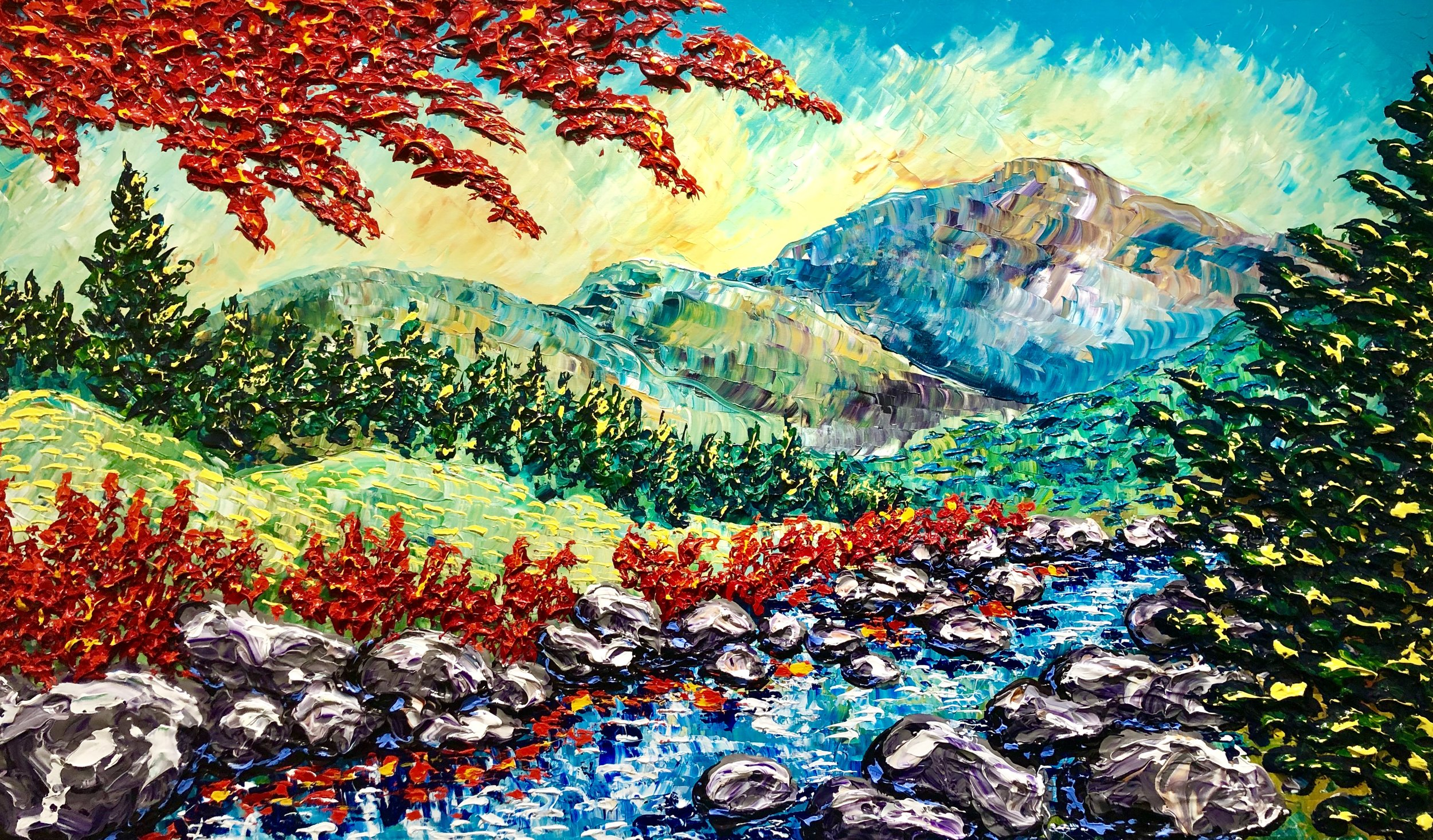 """Dupuy """"""""Reflective waters of early Autumn"""" 36x60"""