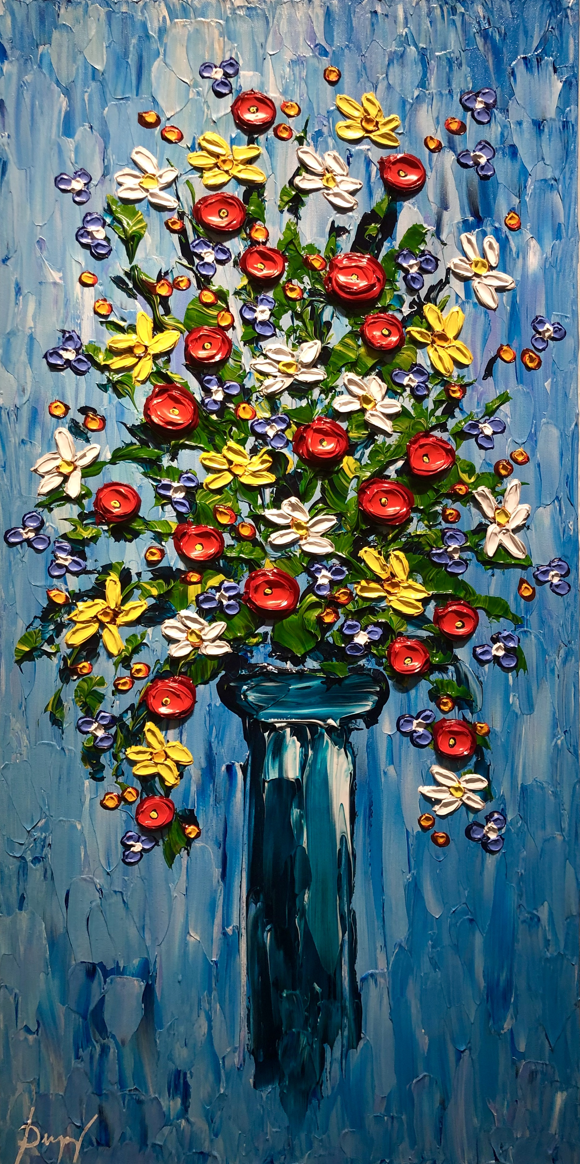 """Dupuy """"Vase of Colorful Poppies"""" 40x20"""