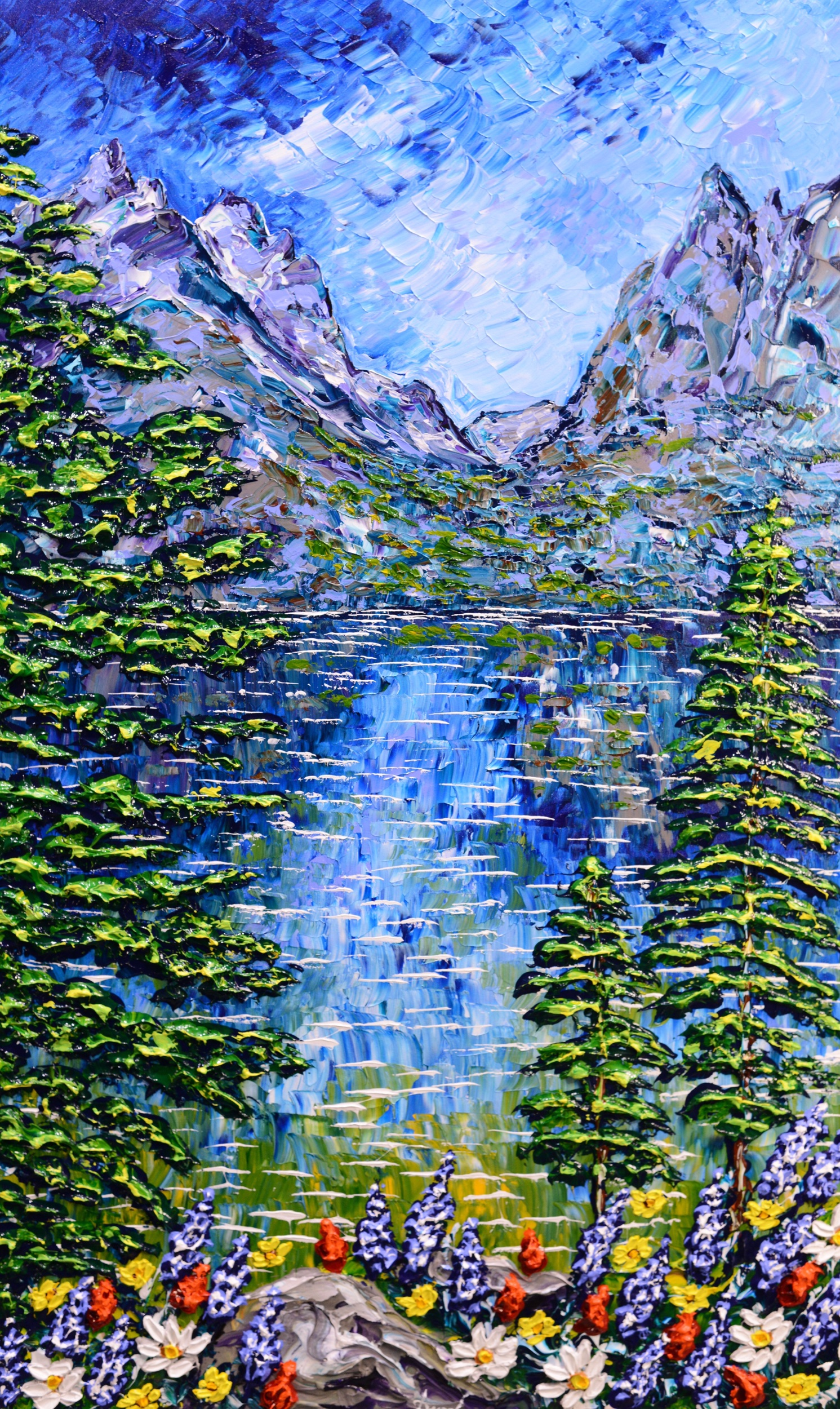 """Water's Colorful Path of Mountain Peaks"" 60x36"