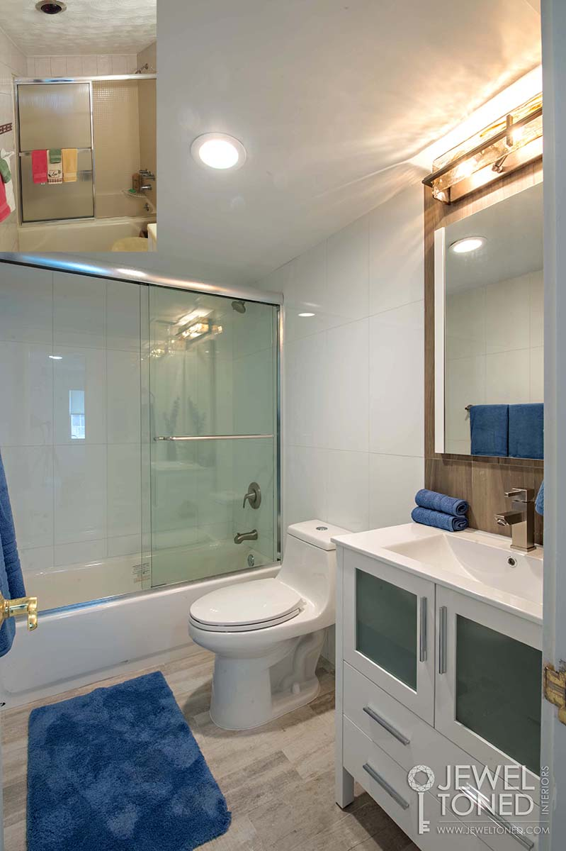 Before and After of Guest Bathroom Shower