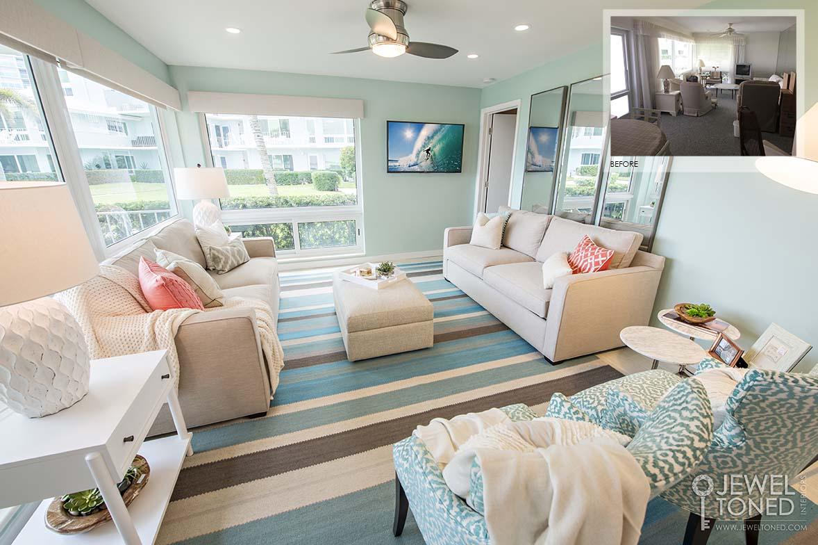 Coastal Condo Living Room Decor