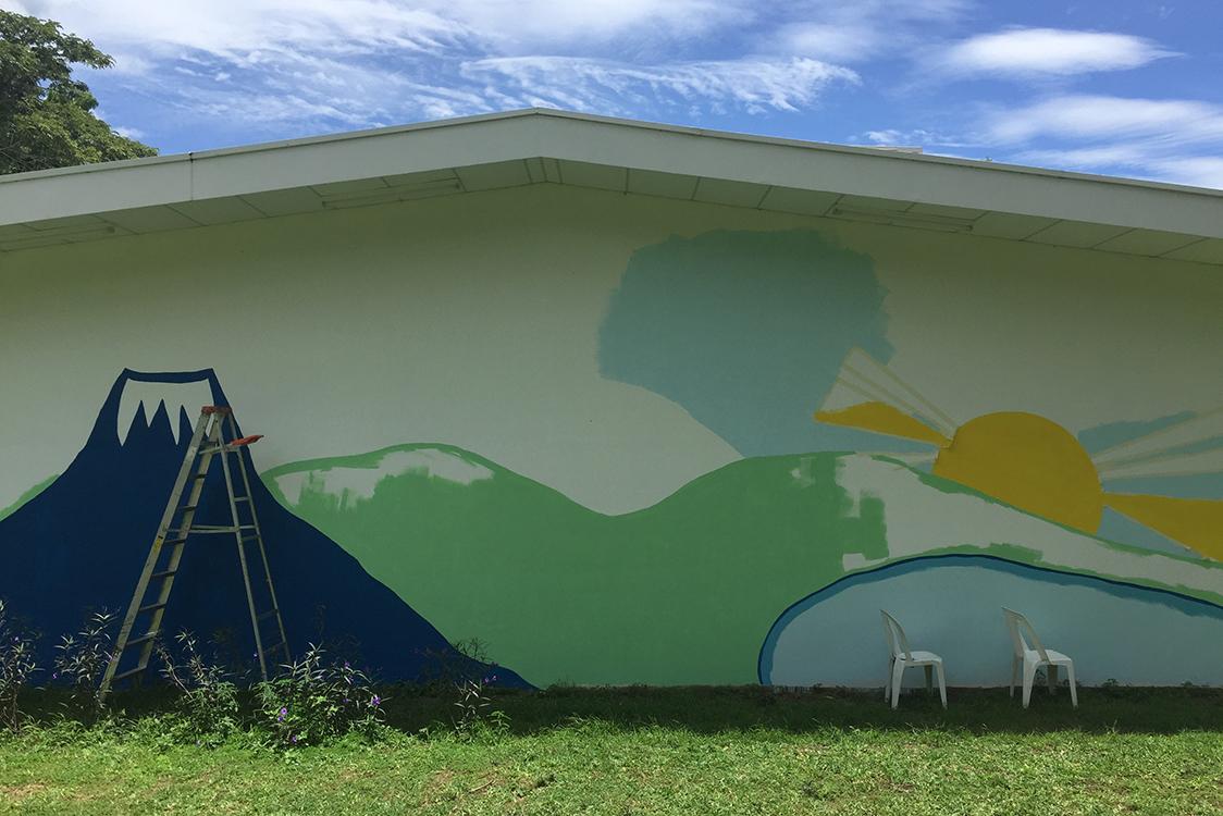 Progress image of the mural