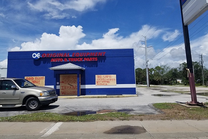 Okeecbee business all boarded up in prepartion of Irma's arrival