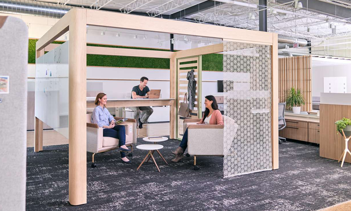 Best of Competition winner OFS Obeya is a wood framework that brings people together for privacy and community. Image courtesy OFS