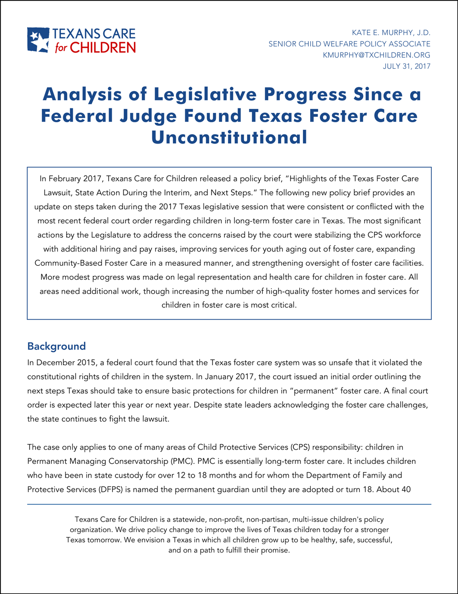 Analysis of Legislative Progress Since a Federal Judge Found Texas Foster Care Unconstitutional