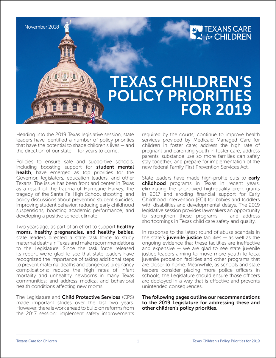 Texas Children's Policy Priorities for 2019 — Texans Care