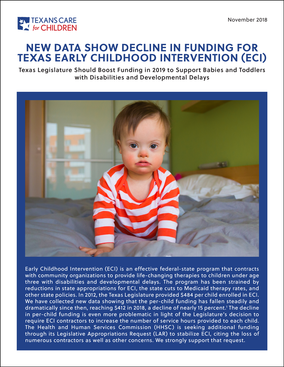 New Data Show Decline in Funding for Texas ECI