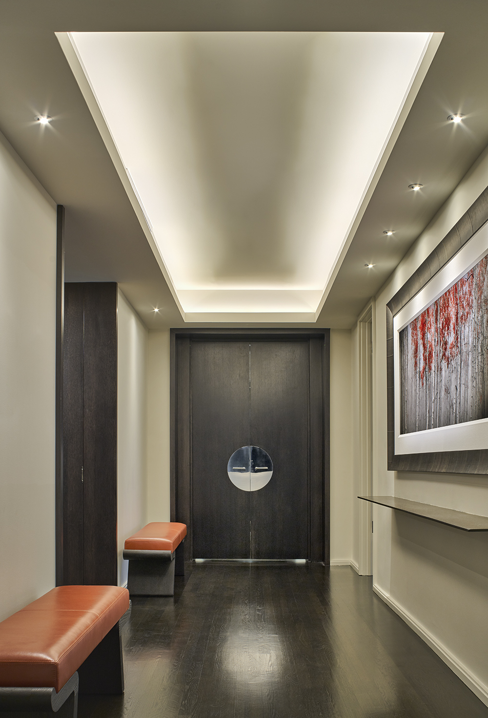 Entry Foyer with Bespoke Doors and Hardware Design in a Residence at The Watertower