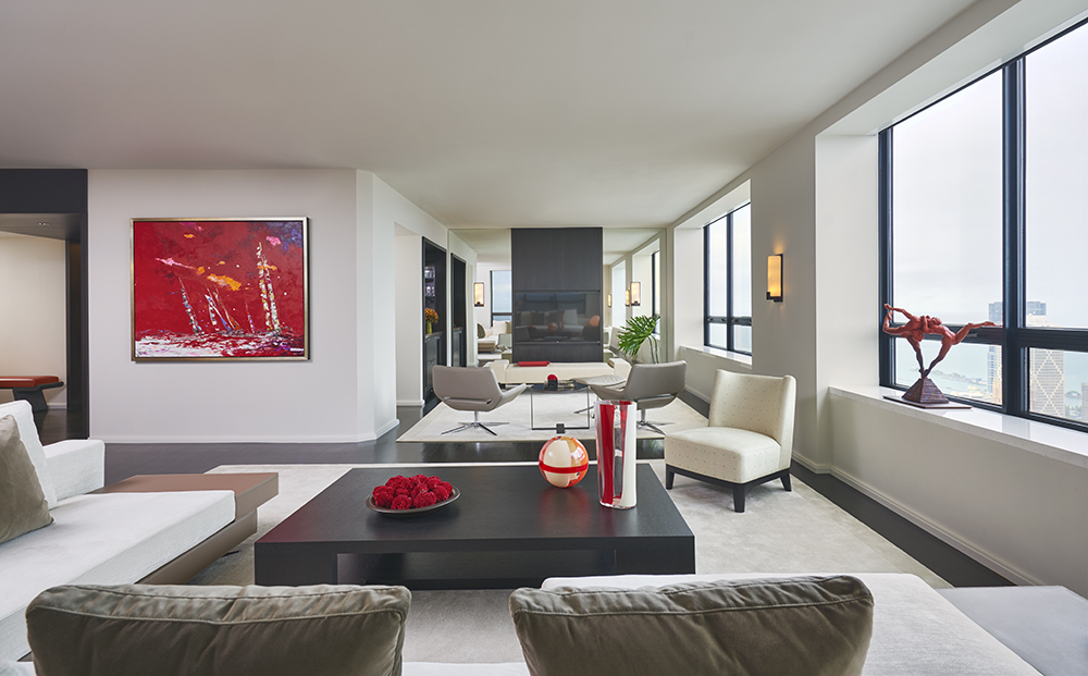 Contemporary Furniture, Hermes Fabrics,Carlo Moretti Murano Vases and a Richard MacDonald Sculpture combine beautifully in a Residence at The Watertower