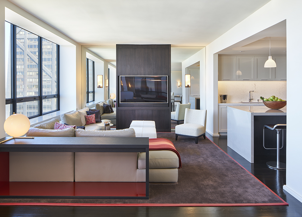 Family Room and Kitchen with bespoke Cabinetry in a Residence at The Watertower