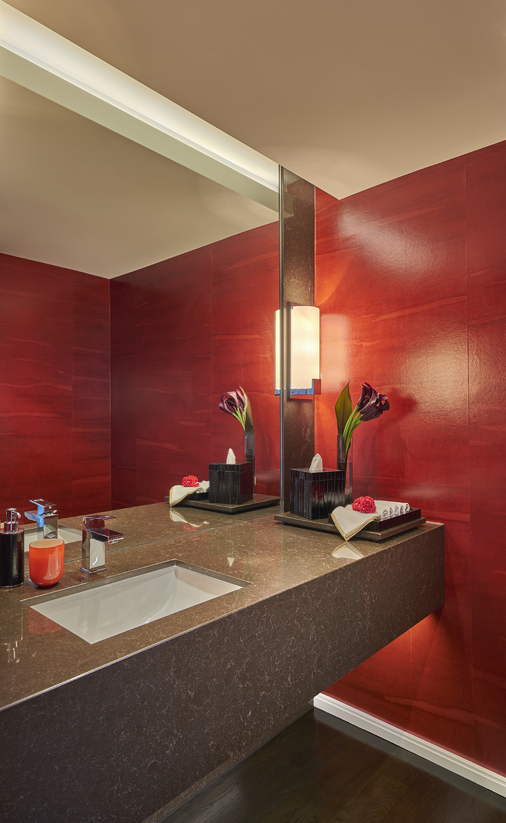 Powder Room with Cantilevered Stone Sink in a Residence at The Watertower