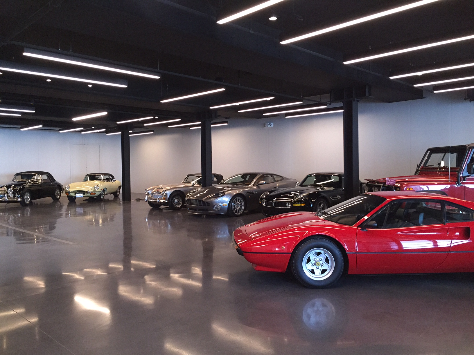 In Progress Photograph of The Gallery for a Vitage Car Collector in Chicago