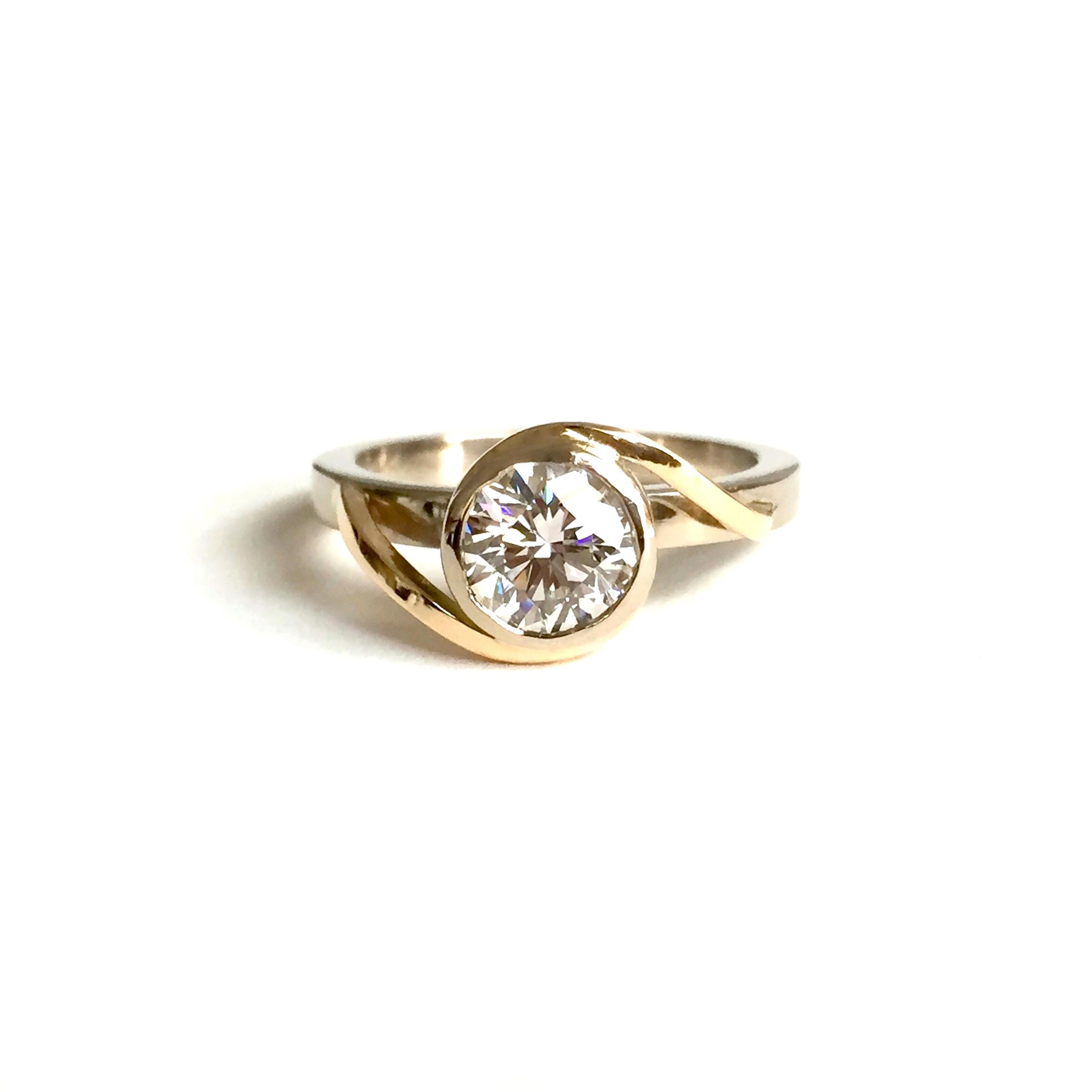 14k Diamond Bezel Bypass Ring