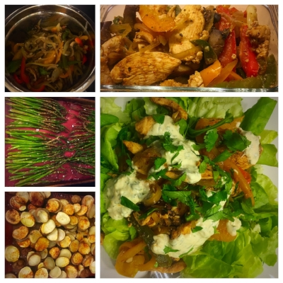 Roasted asparagus, bell peppers, onion & potato...later turned into salad toppers