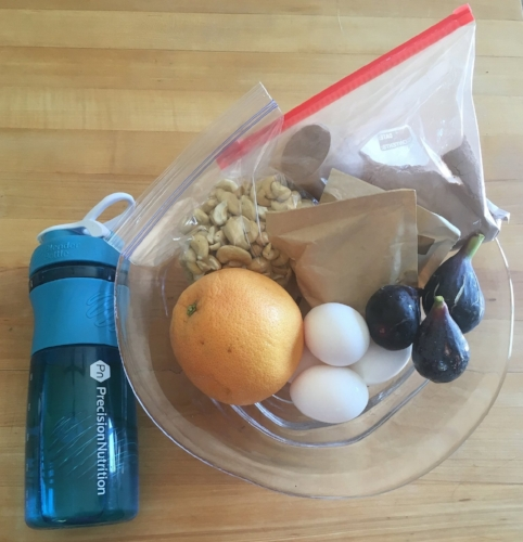 Snacks I took on a recent trip along with my nifty PN blender bottle for mixing protein powder.