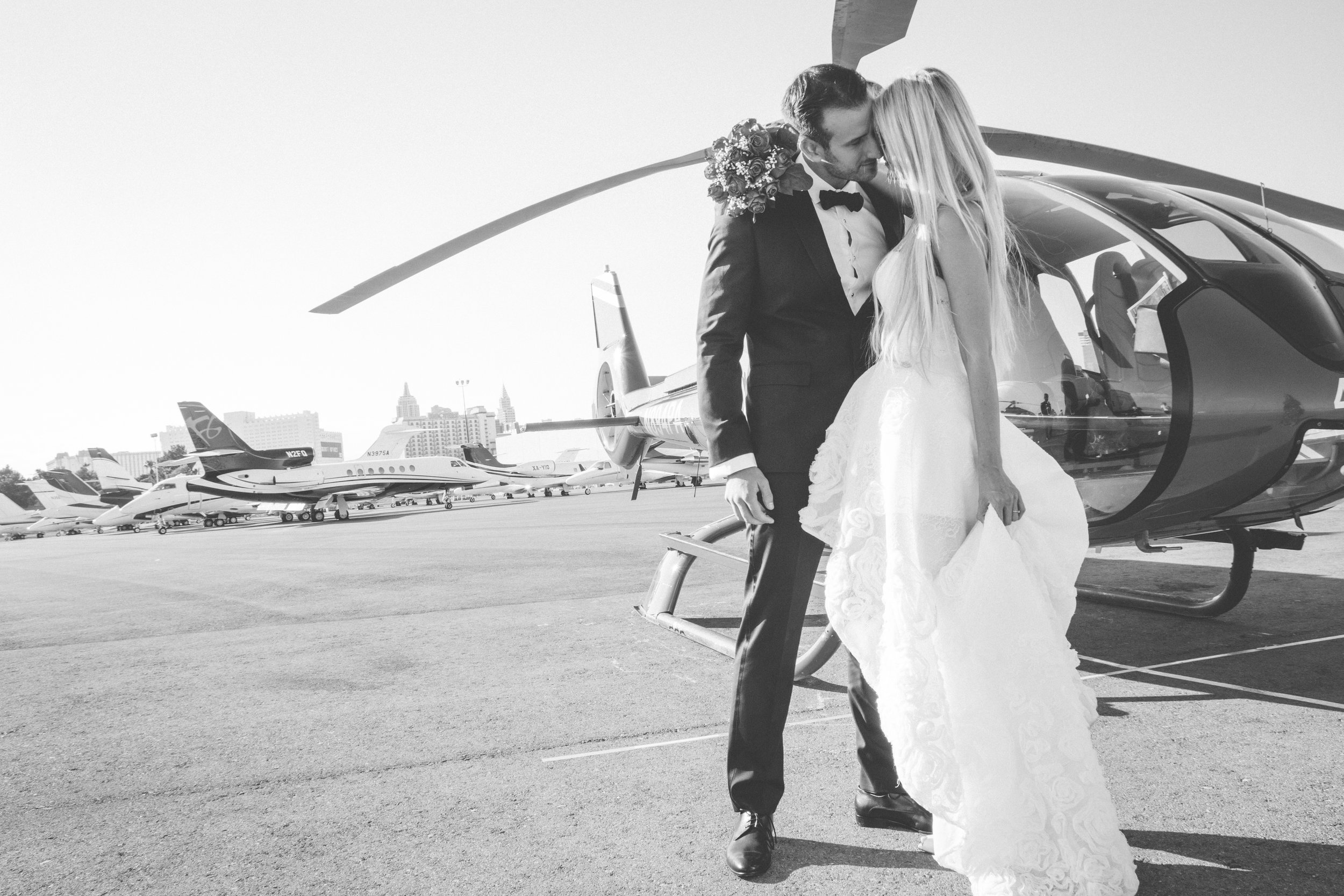 A Bride and Groom and their Helicopter Chariot