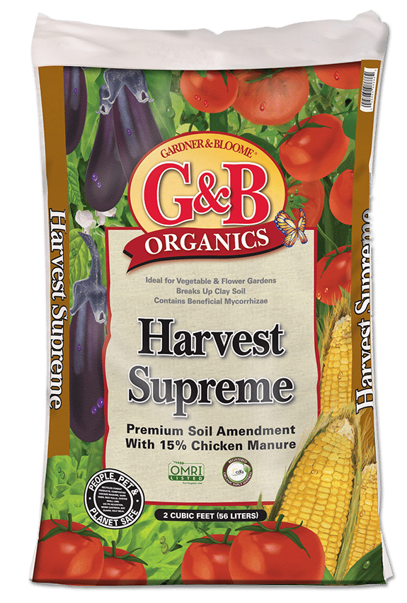 - It's time to get those raised beds filled up with veggie starts, and there is NO BETTER product than G&B Organic Harvest Supreme. Filled with all the nurtrients your plants need including chicken manure. This premium soil amendment can be used as a stand alone soil, or you can mix it with your good garden soil from last year at a 50/50 ratio. Just remember to ask us which plants, like tomatoes, need to be rotated each year. It's perfect for container planting also.