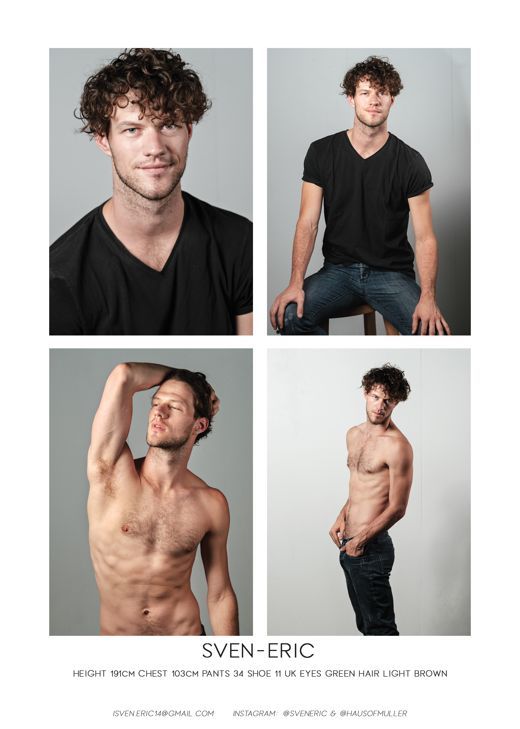 Model's digitals comp card by Willem Vrey Sven Eric