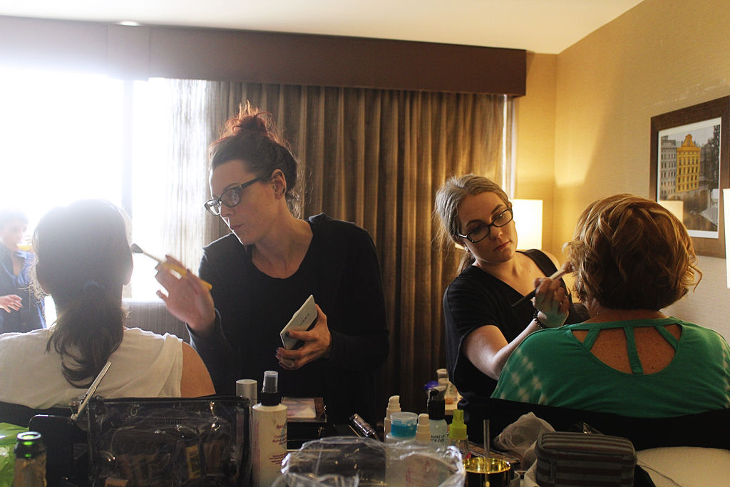 Dayna Green and Meghan Martin behind the scenes wedding makeup Gals and Ghouls